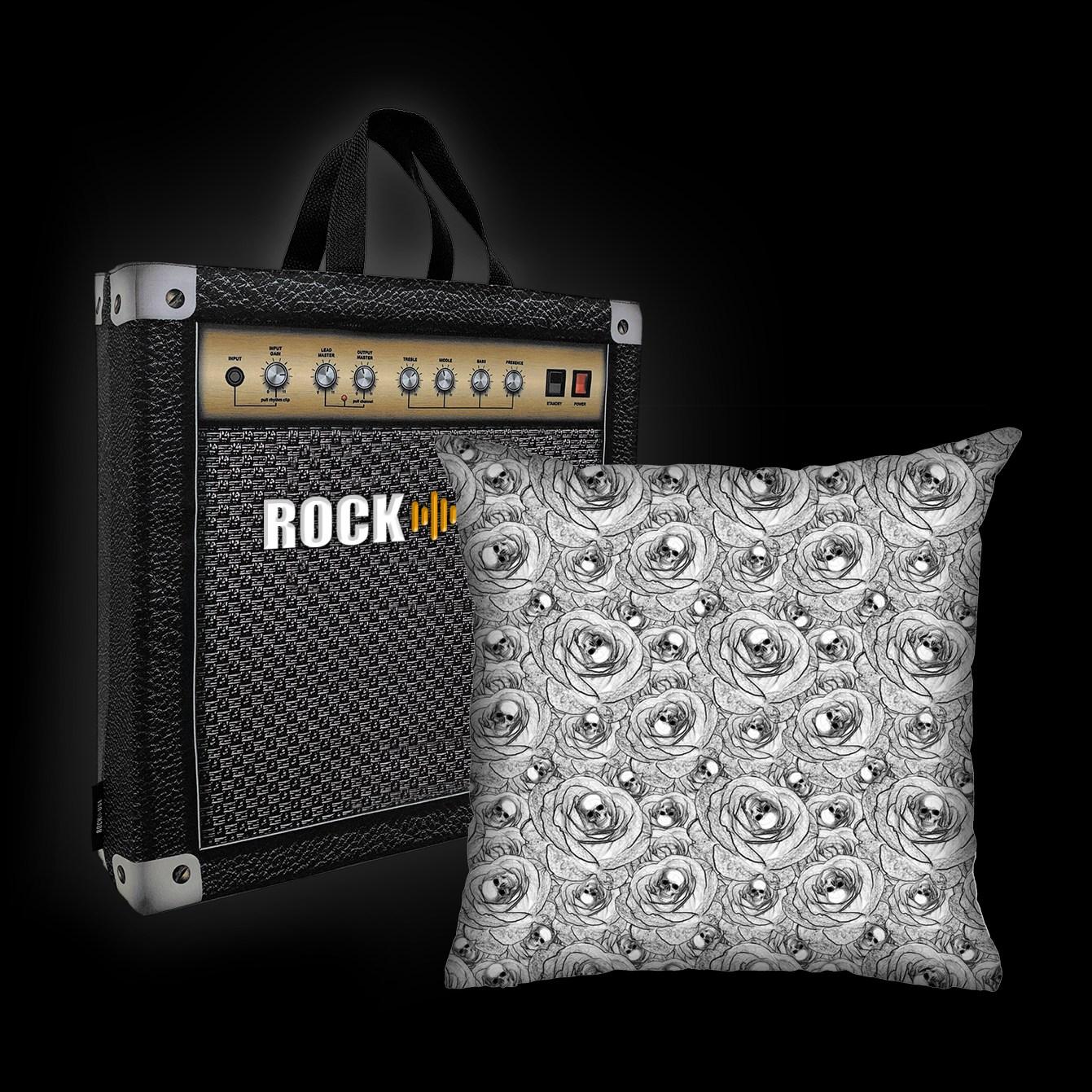 Almofada Rock Use - Skulls & Roses (Branco)