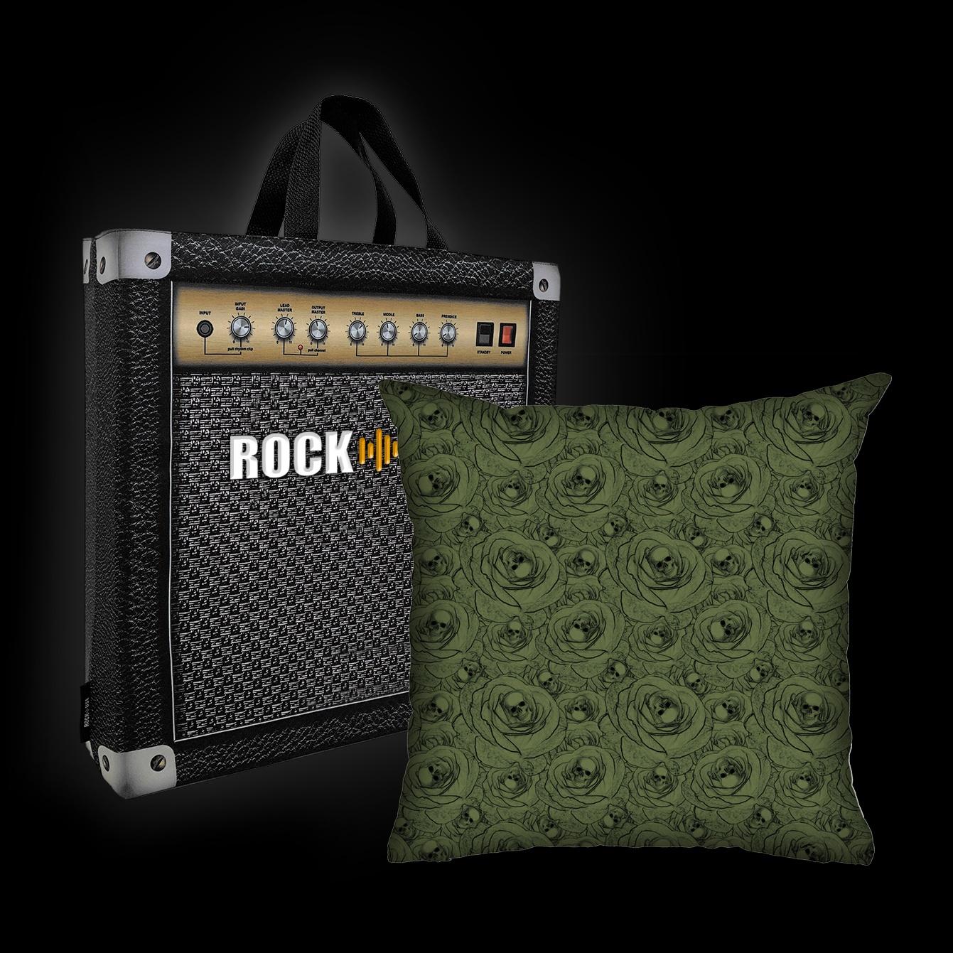Almofada Rock Use - Skulls & Roses (Verde)
