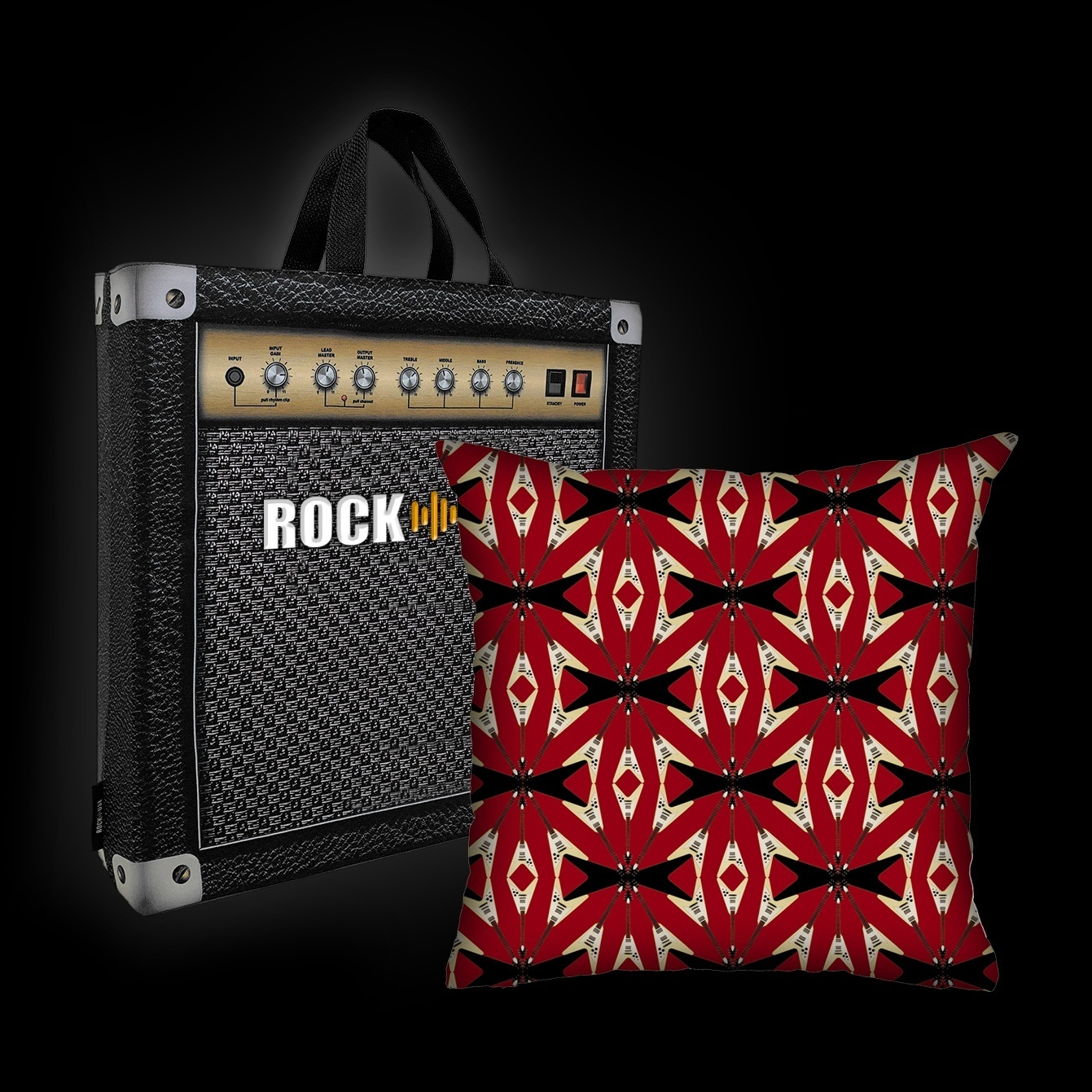 Kit Almofada & Sacola Rock Use - Flying V - Vermelha