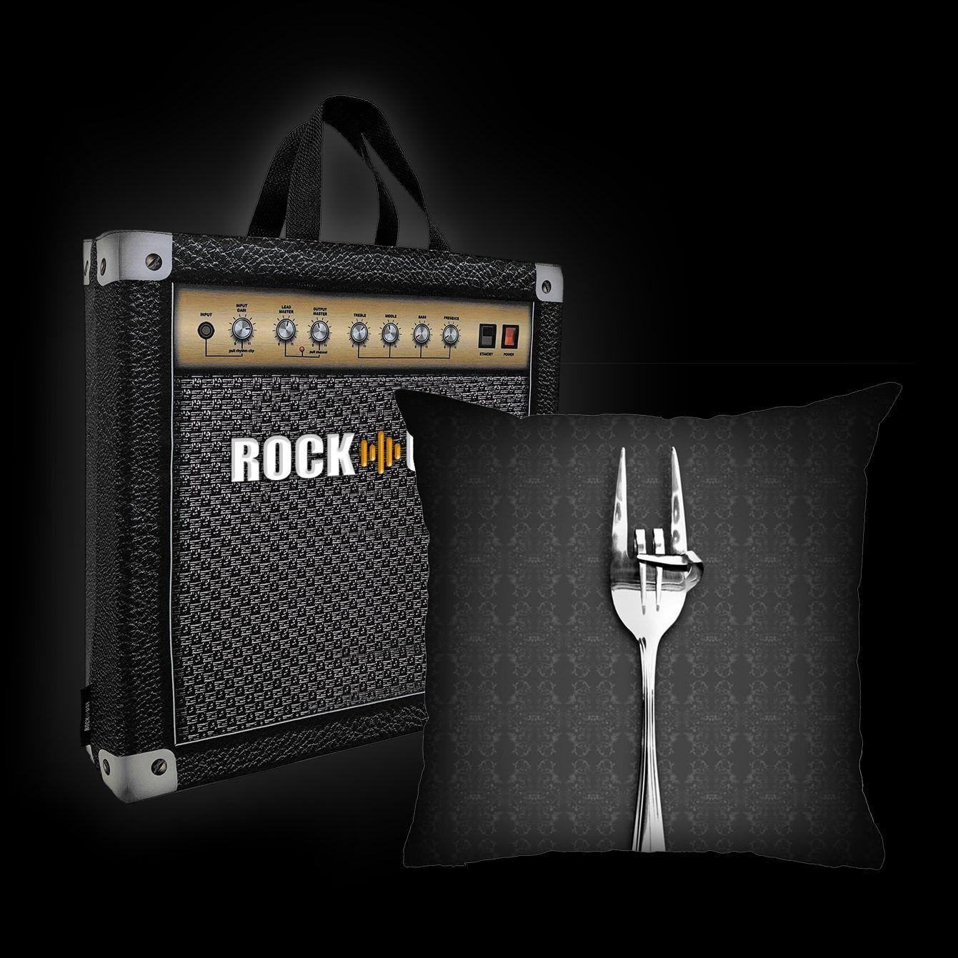 Kit Almofada & Sacola Rock Use - Fome de Rock - Cinza