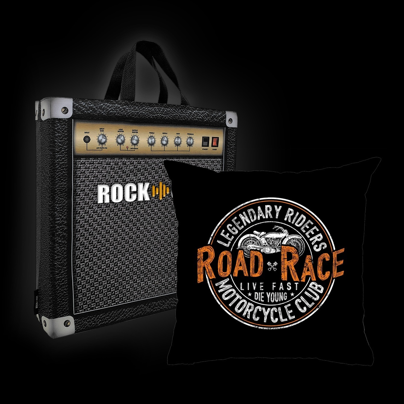 Kit Almofada & Sacola Rock Use - Live Fast Die Young