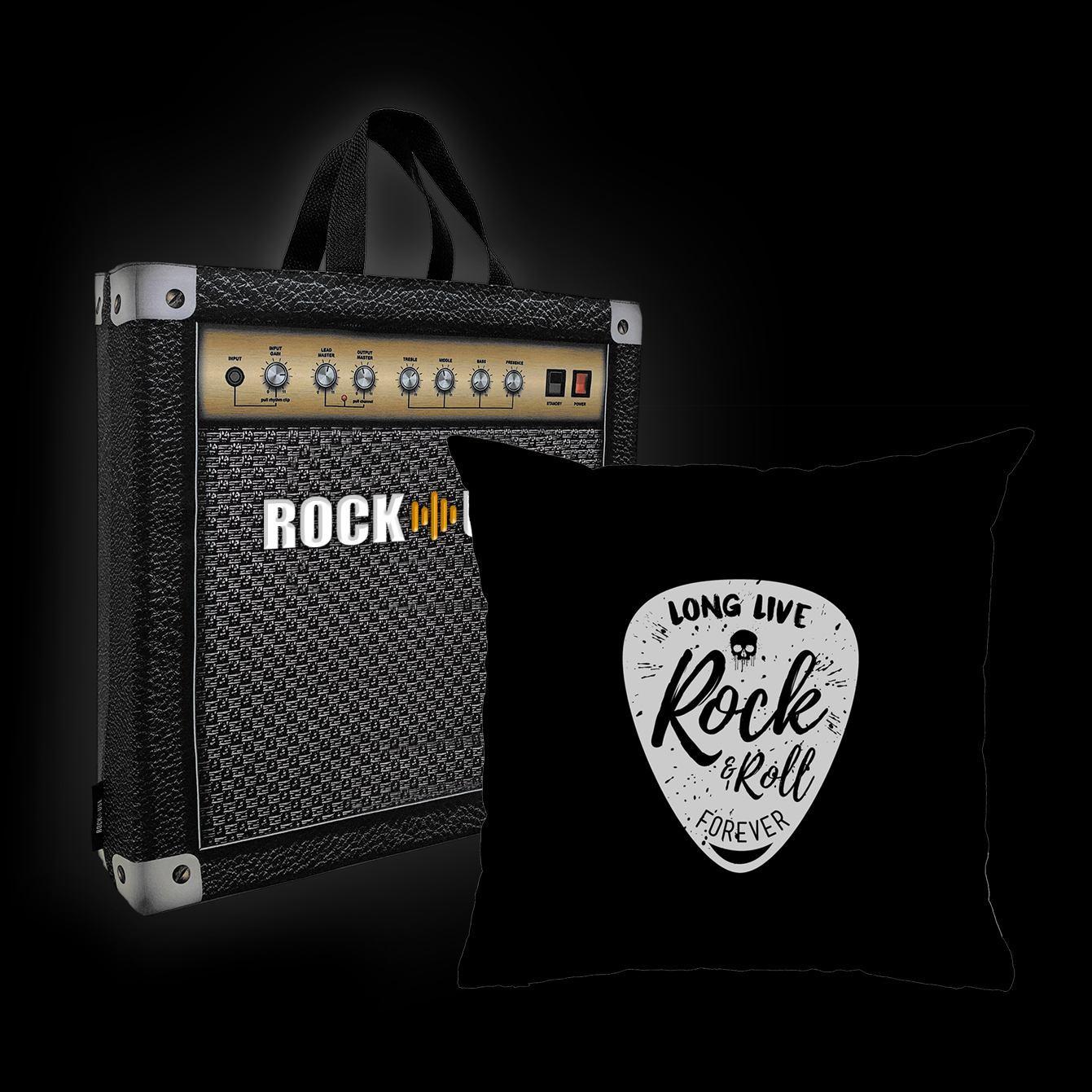 Kit Almofada & Sacola Rock Use - Long Live Rock & Roll - Preta
