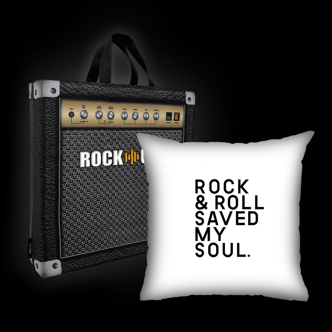 Kit Almofada & Sacola Rock Use - Rock & Roll Saved My Soul - Branca