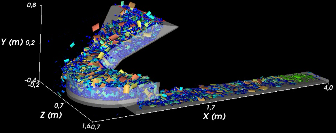 Simulation in Rocky DEM with many particles.