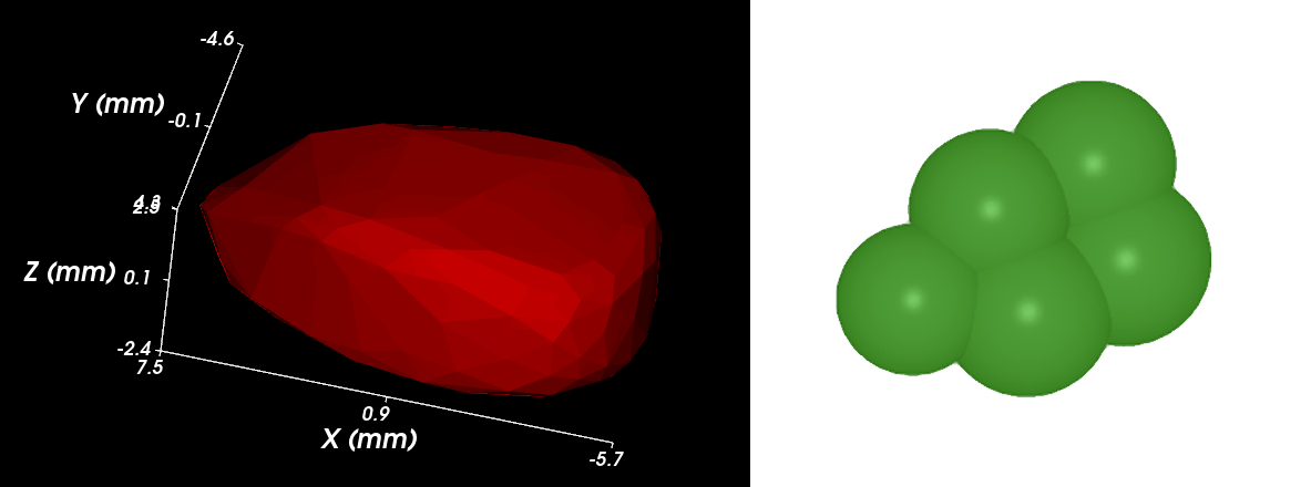 Representation of a corn kernel as single polyhedral particle in Rocky DEM, and glued spheres in standard DEM code.