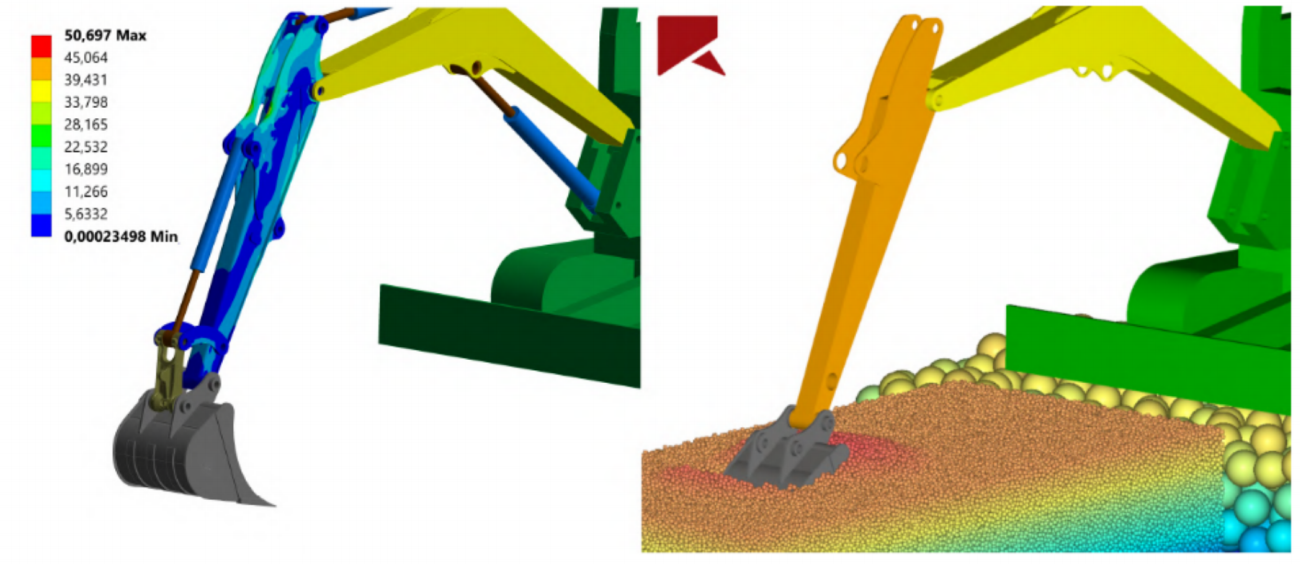 Coupled mechanical–DEM simulation represents excavator shaft stresses at any time during soil harvesting: von Mises stresses and time instant