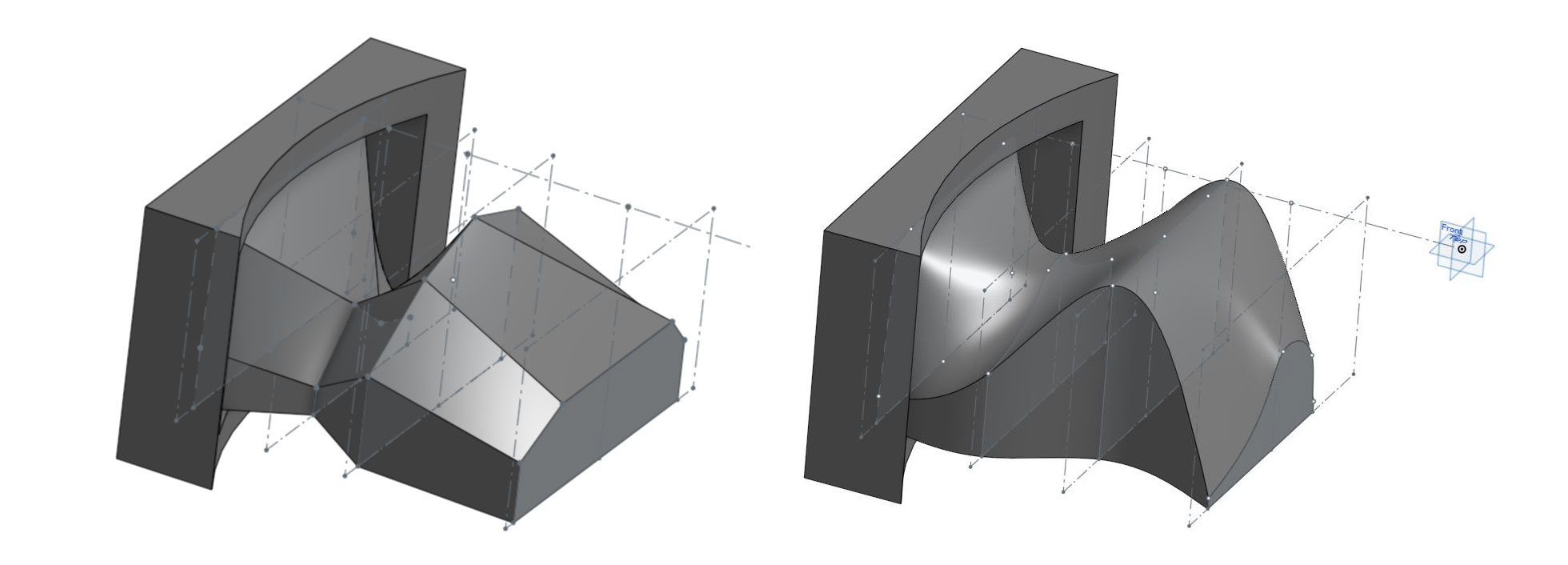 Two deflector designs, one with flat surfaces (left) and one that is curved (right).