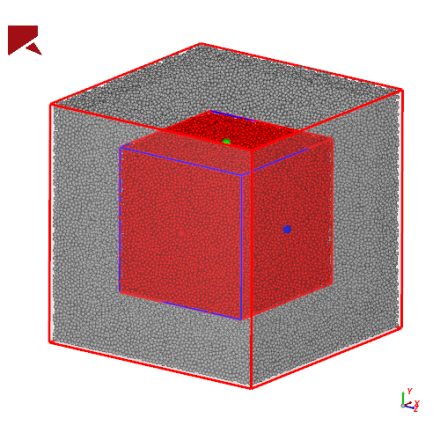 Analysis cube measuring material mass inside the box
