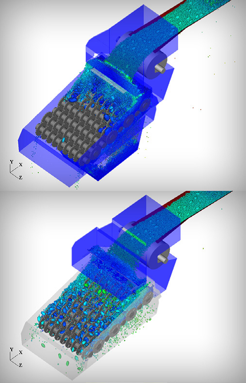 Roller screen before (top) and after (bottom) with design changes based on Rocky DEM-Ansys FEA simulations.