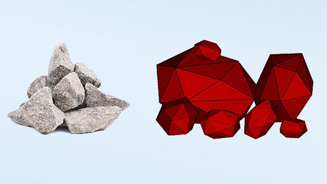 Fractured granite rock: real material sample (left) and representation in Rocky Simulation (right).