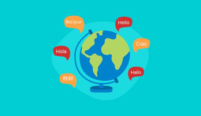 """Um globo e a palavra """"olá"""" em diversos idiomas."""