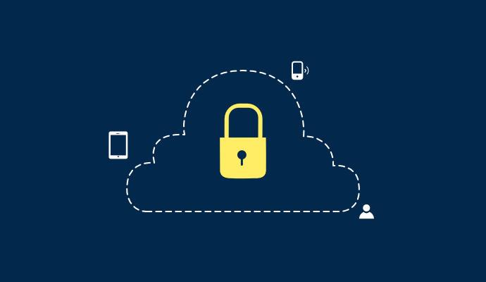 Imagem de uma nuvem com dispositivos e usuário.