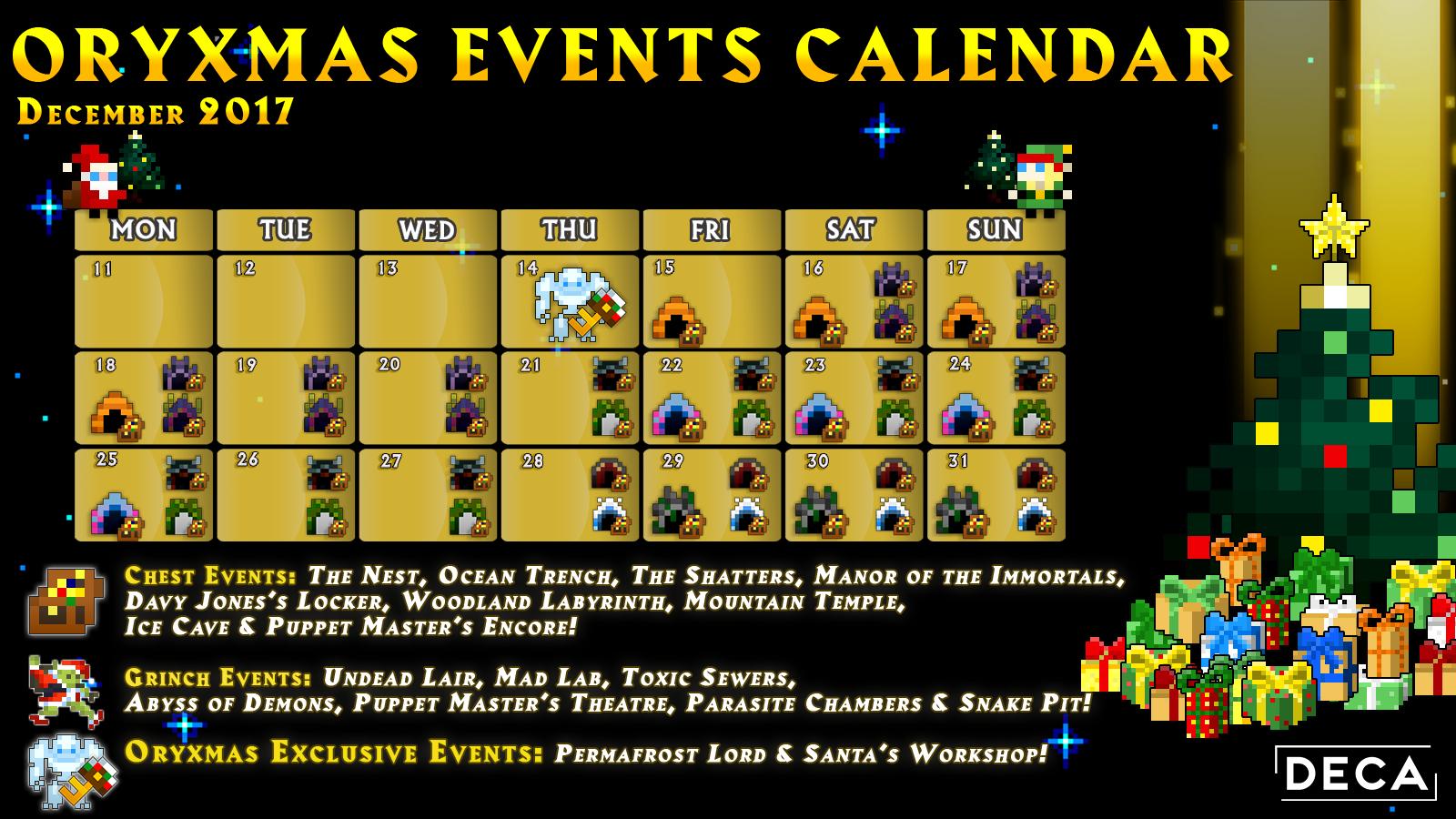 Rotmg December 2019 Calendar Christmas Event Chest Hub : RotMG