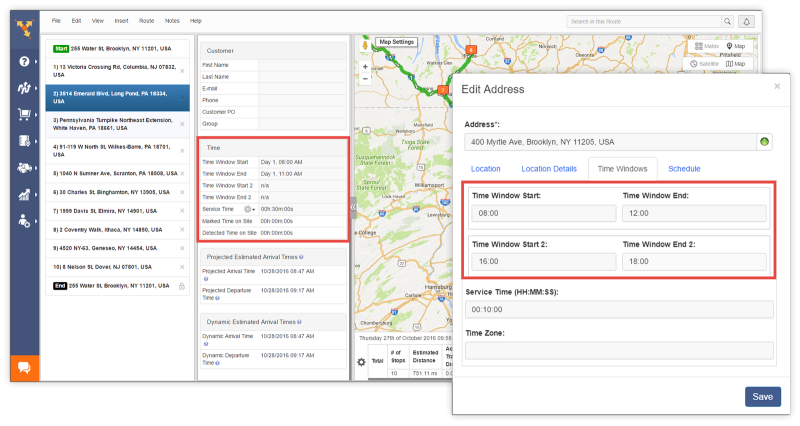 Route4Me as route planner allows you to indicate your customers' service hours