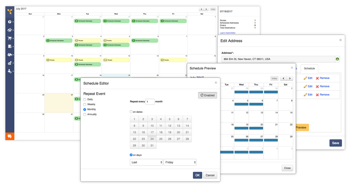 Quickly schedule optimized routes days, weeks, months, or years in advance with ease.