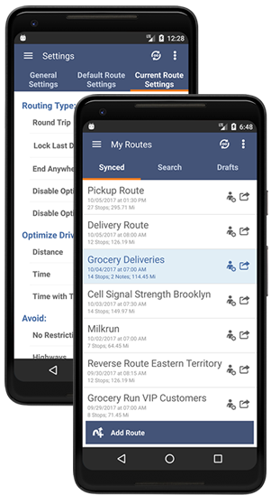 Optimized Routes on an Android Smartphone