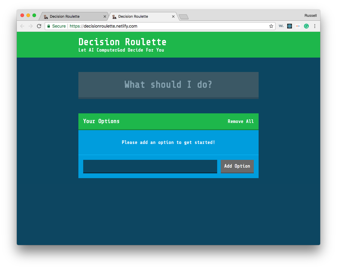 Decision Roulette App Page