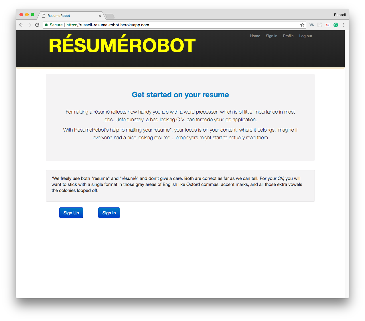 Resume Robot Home