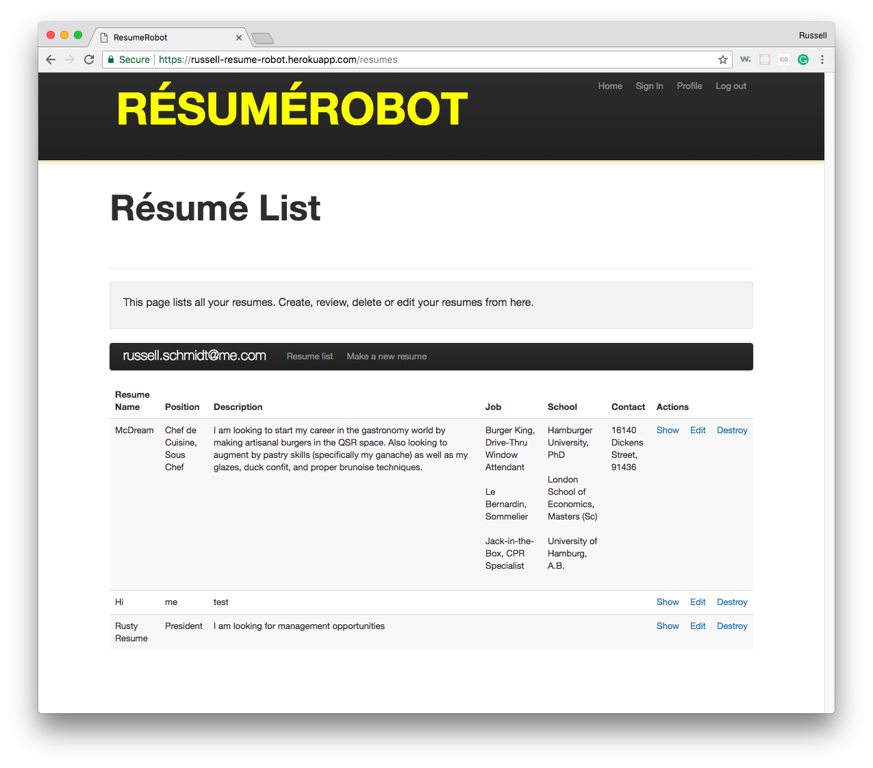 Resume Robot Login