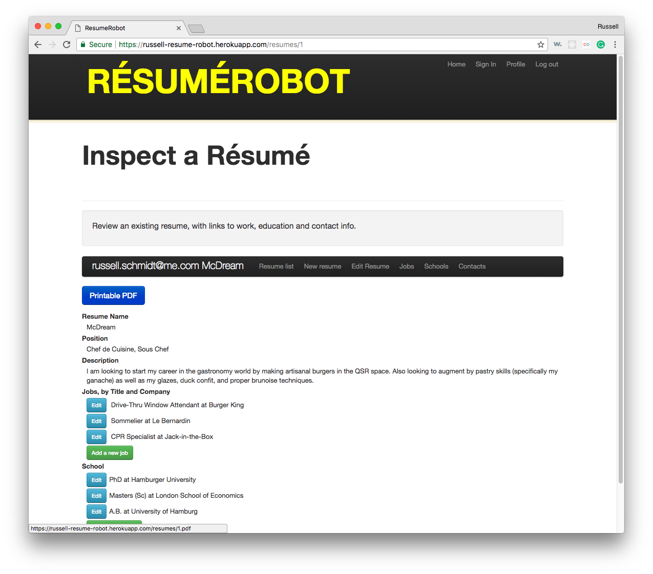 Resume Robot Edit Screen