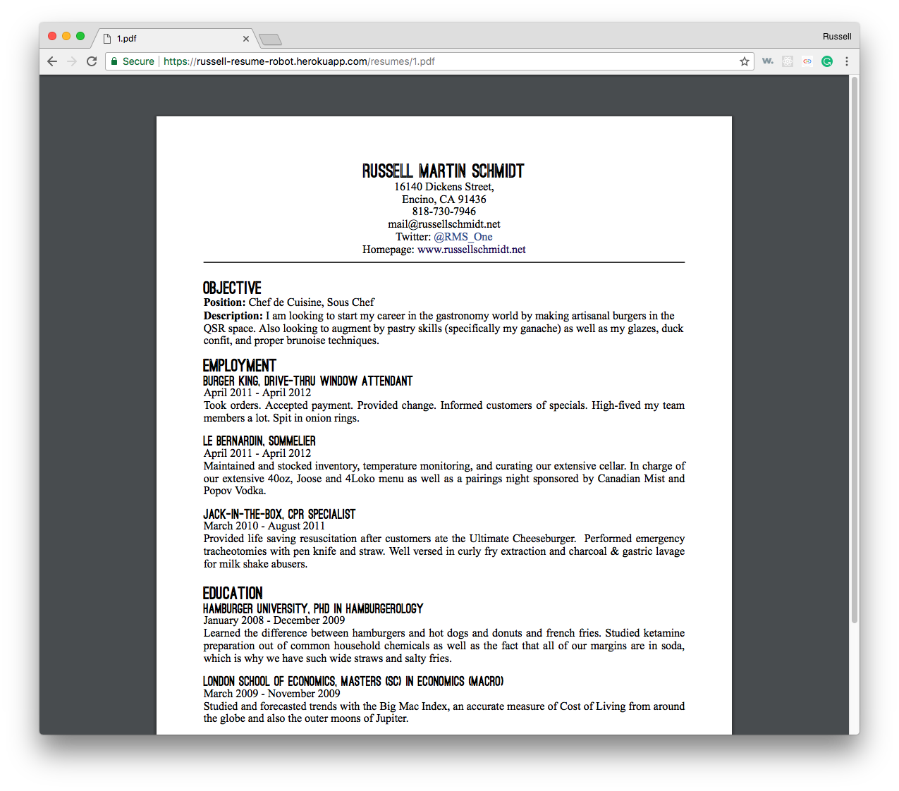 Resume Robot PDF Output