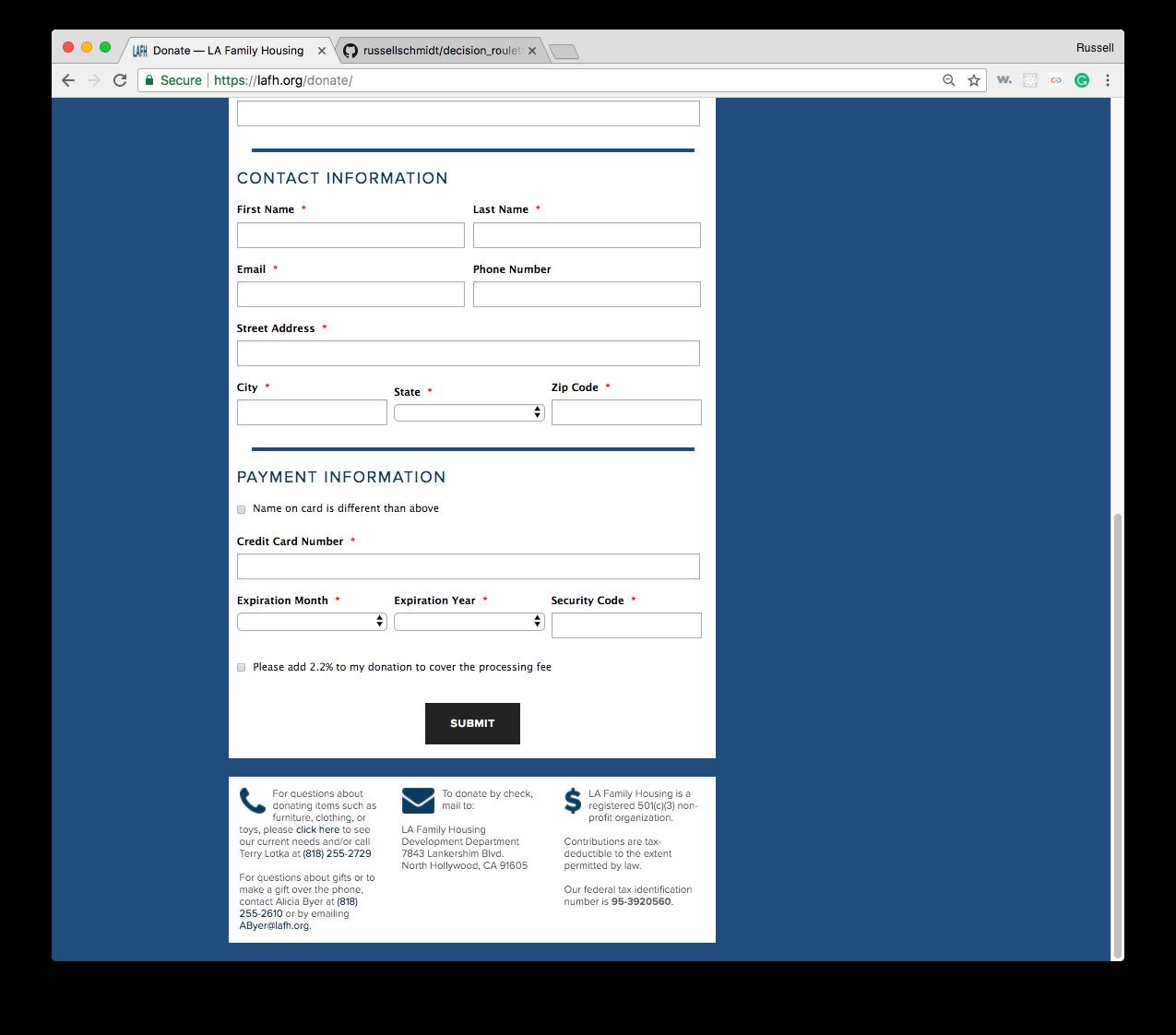 LAFH Donation Payment Form
