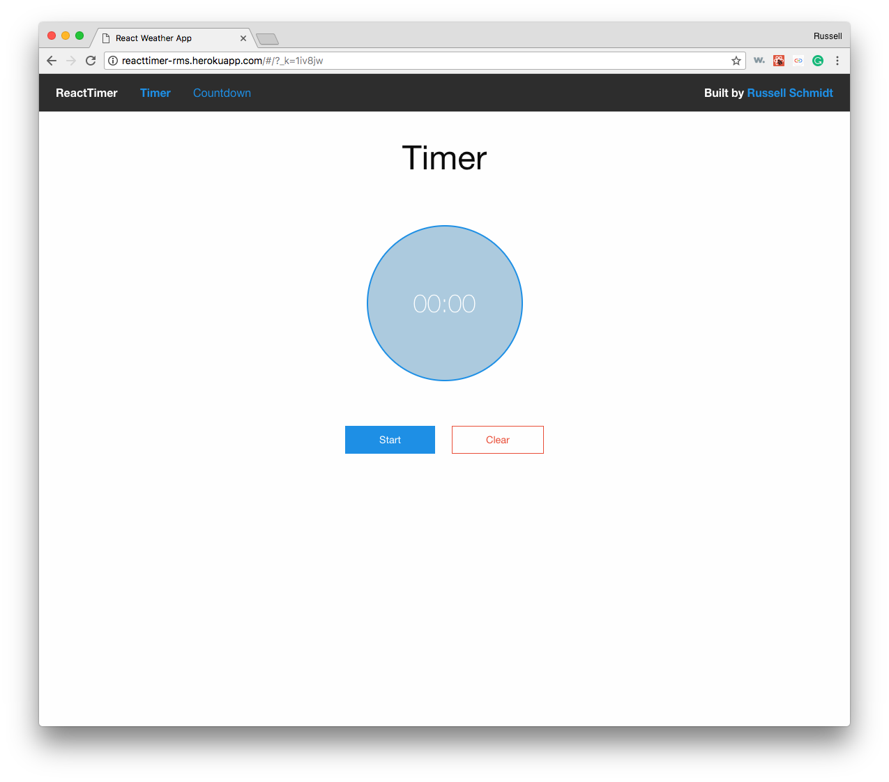 React Time Timer