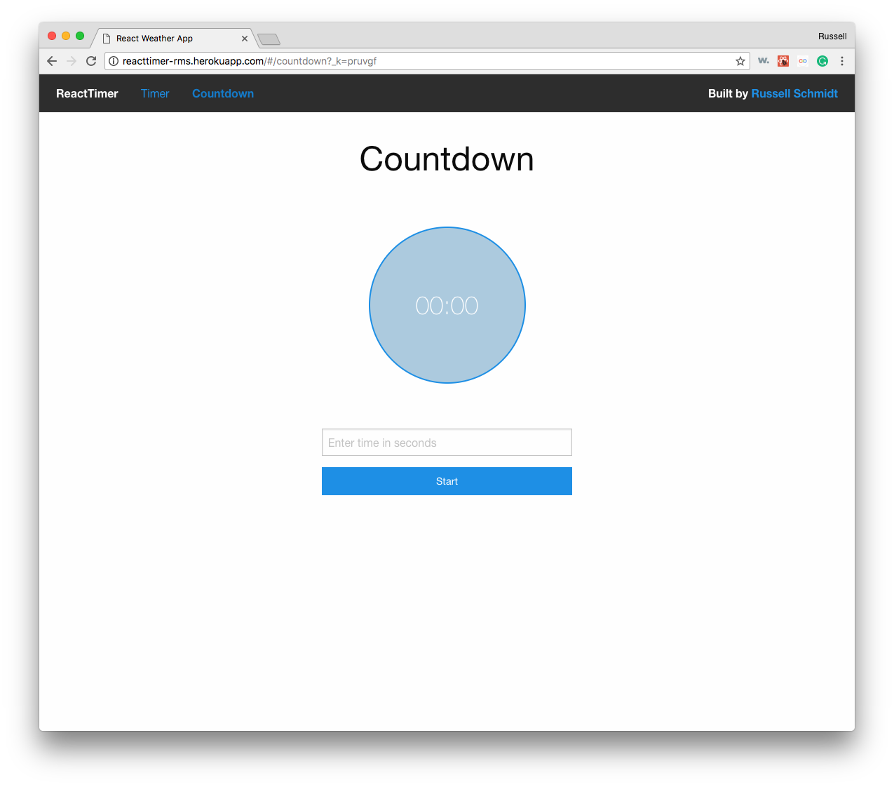 React Time stopwatch ready to go
