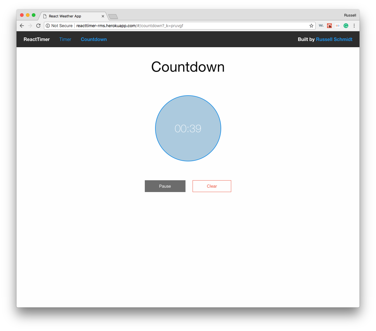 React Time stopwatch in action