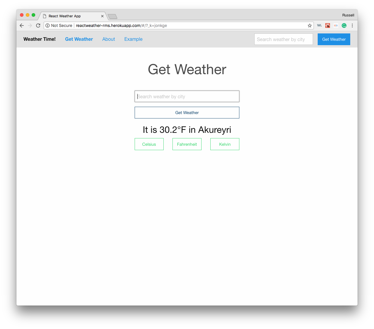 React Weather Action
