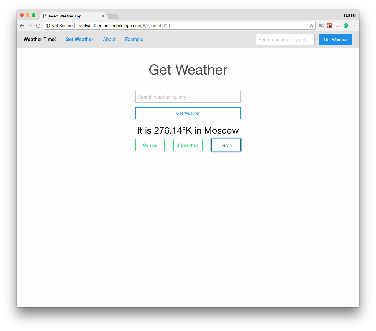 React Weather Kelvin