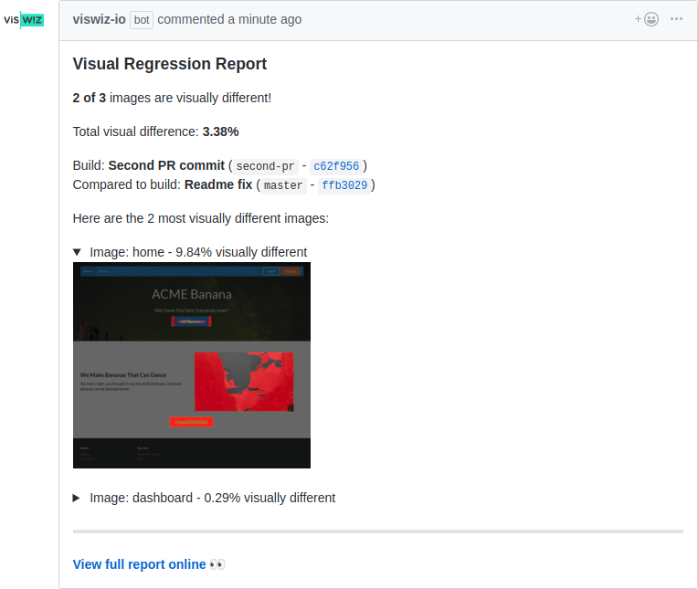 PR visual regression report by VisWiz.io