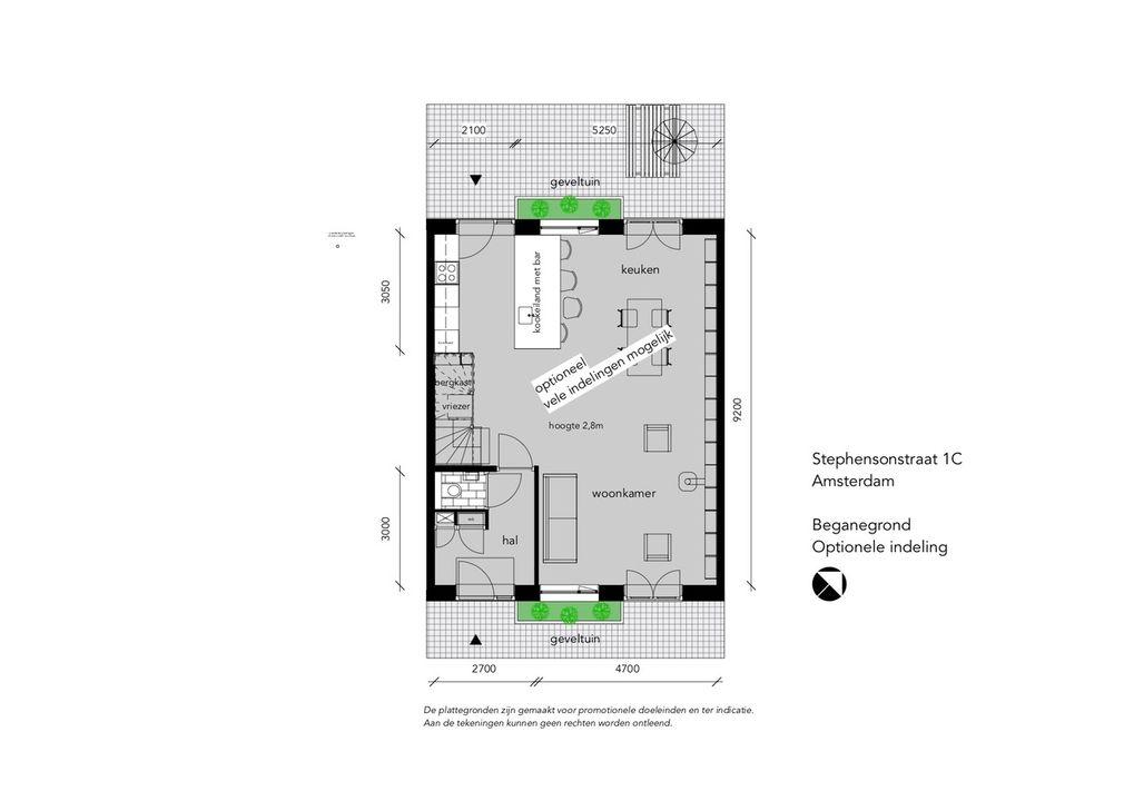 Stephensonstraat 1 C-HS, Tussenwoning in Amsterdam Plattegronden-3