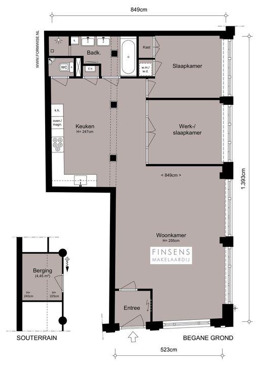 Looiersgracht 118 huis, Benedenwoning in Amsterdam Plattegronden-0