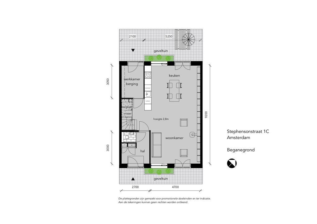Stephensonstraat 1 C-HS, Tussenwoning in Amsterdam Plattegronden-0