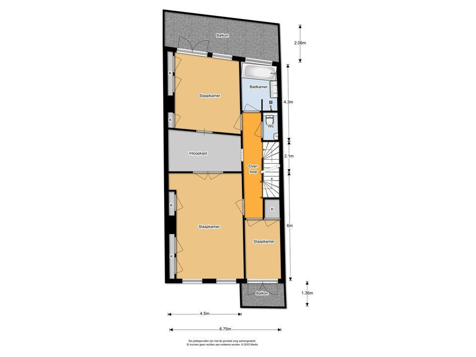 Praediniussingel 35, Groningen plattegrond-