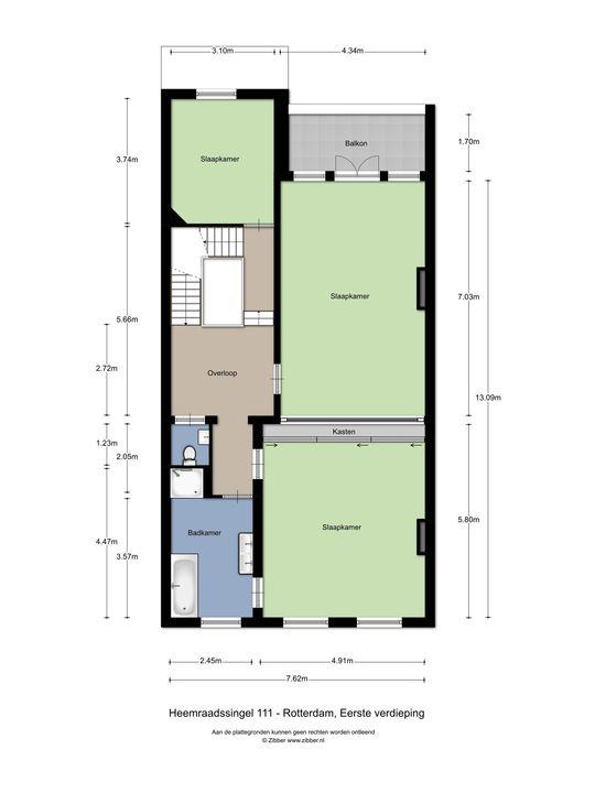 Heemraadssingel 111, Rotterdam plattegrond-