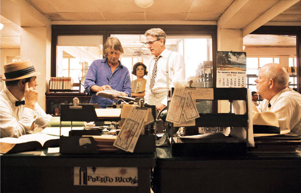 Bruce Robinson directing in the office with Lotterman, The Rum Diary