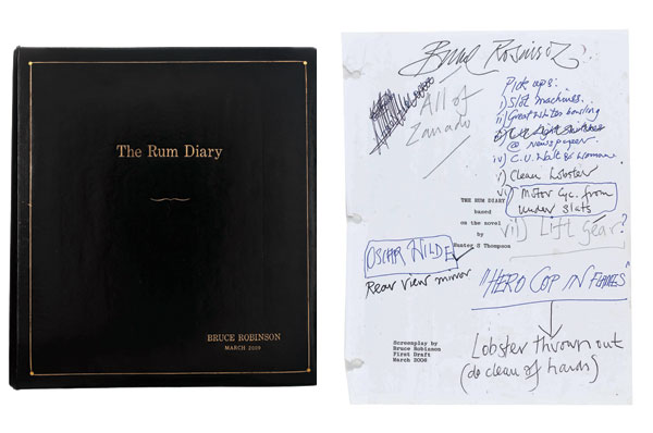 Bruce Robinson's personal Rum Diary and copy of the script, with hand-written annotations