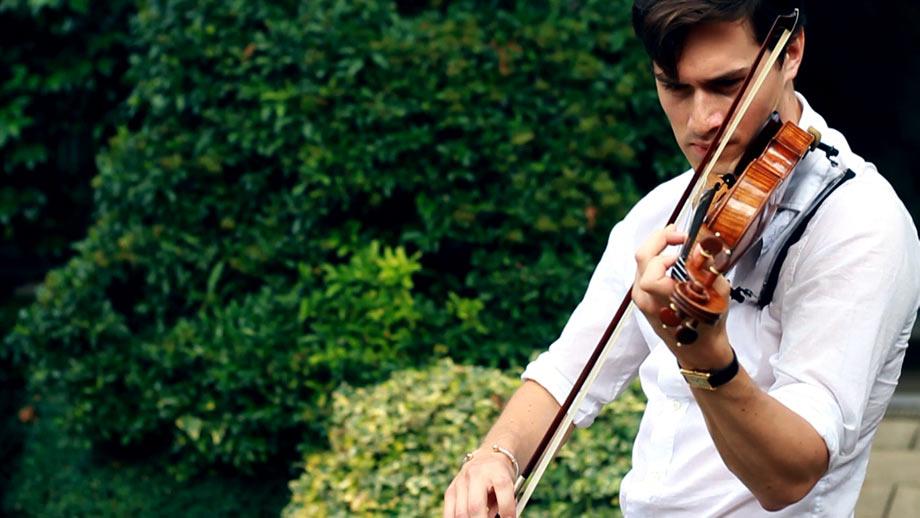Charlie Siem, rehearsing in his garden