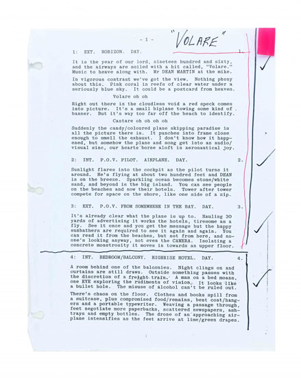 'Voltare' – the opening page of Bruce Robinson's copy of The Rum Diary screenplay