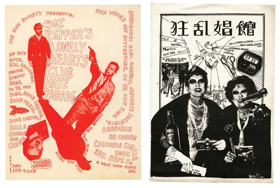 Left: 'Up Against the Wall Motherfuckers' flyer, New York 1967. Right: 'Insane Whorehouse', Japanese punk fanzine, 1979.  Images © PUNK: An Aesthetic edited by Johan Kugelberg and Jon Savage, Rizzoli, 2012