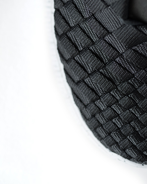 close-up front of shoe weave