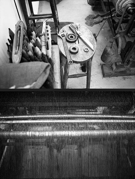 Top: Weaver's toolkit Bottom: tied ends on the hattersley loom make up the weft