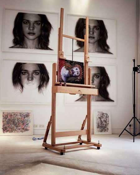 Jason-Brooks---Portraits-hanging-on-the-wall-and-Jesus-canvas-in-studio