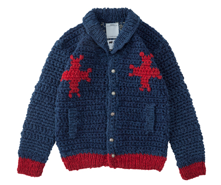 Visvim-knitted-cardigan-navy-blue-with-red-star