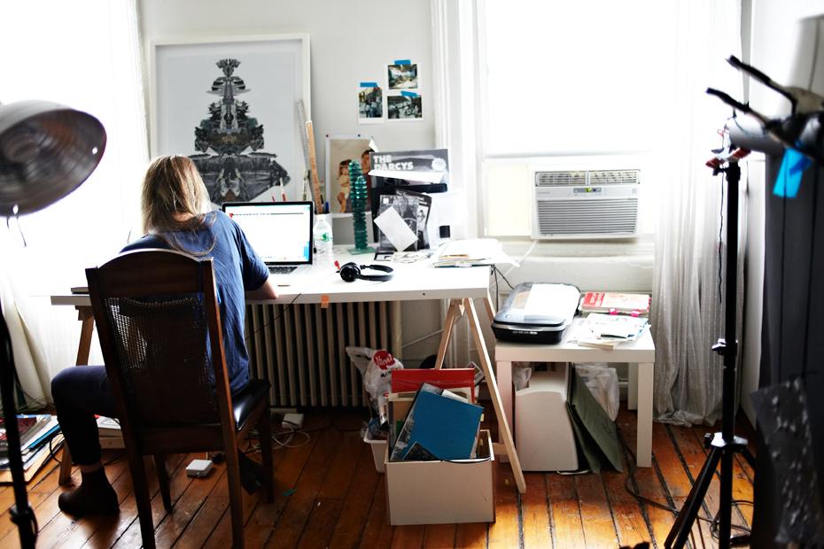 Sara-Cwynar Studio desk shot, Barbara Anastacio