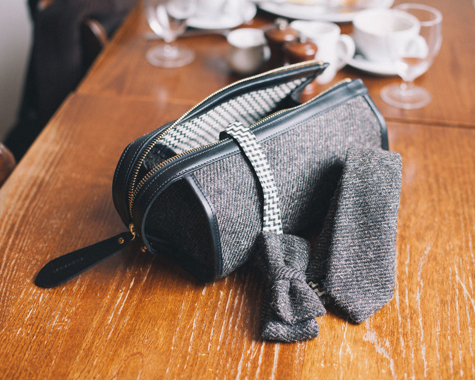 collaborative bag, tie and bow tie