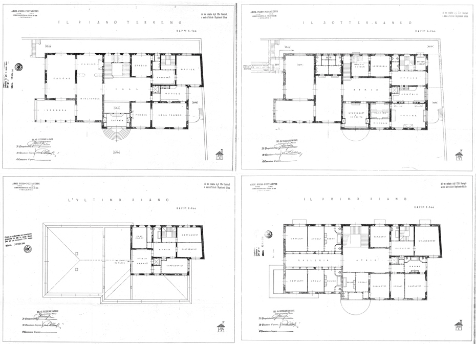 Villa Necchi floor plans