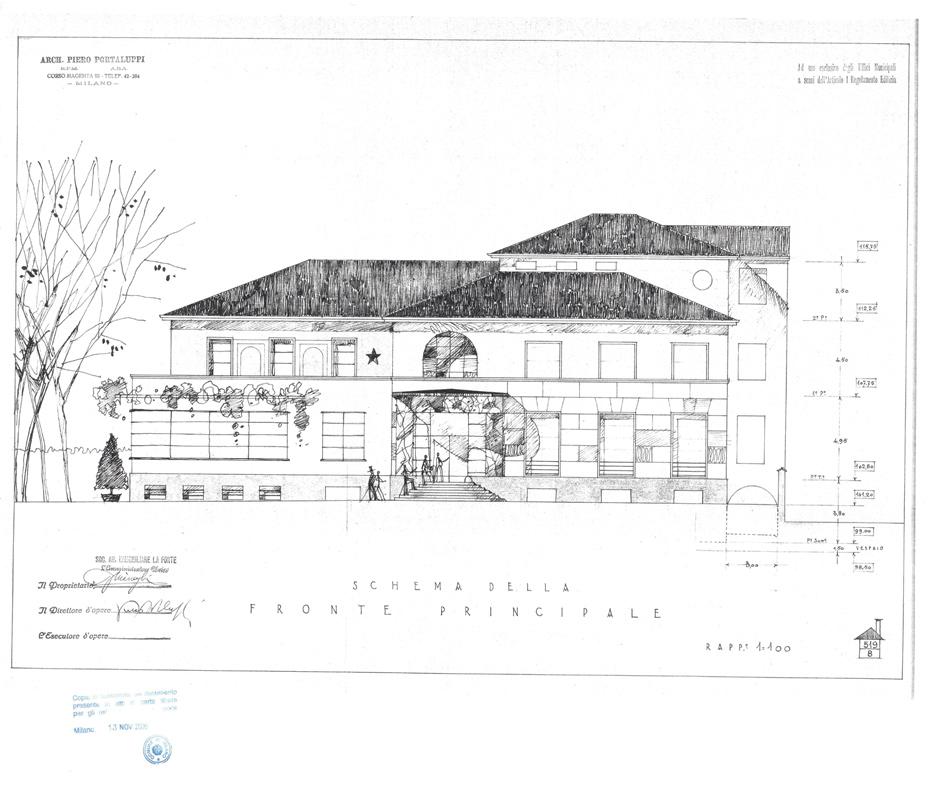 Villa Necchi front elevation (original drawing)
